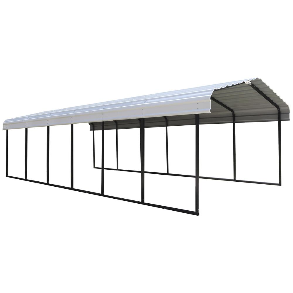 Arrow 12 ft  W x 29 ft  D x 7 ft  H Black/Eggshell Galvanized Steel Wind  and Snow Rated Carport