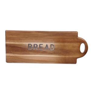 Acacia Wood Brown 20 in. x 8 in. Bread Board with Metal Word
