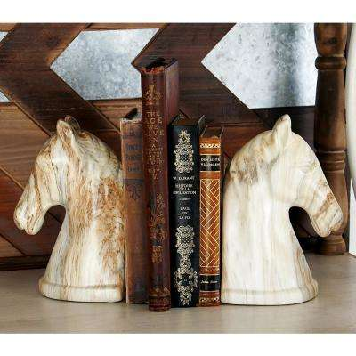 Beige Horse Head Bookends (Set of 2)