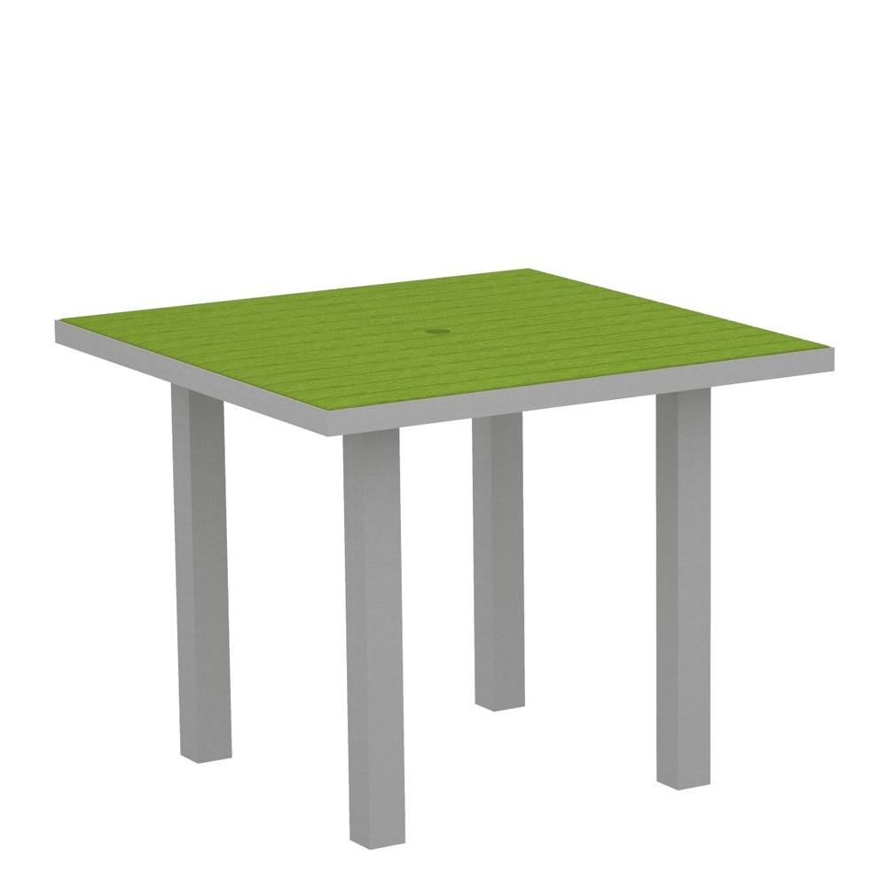 Euro Textured 36 in. Silver Square Patio Dining Table with Lime