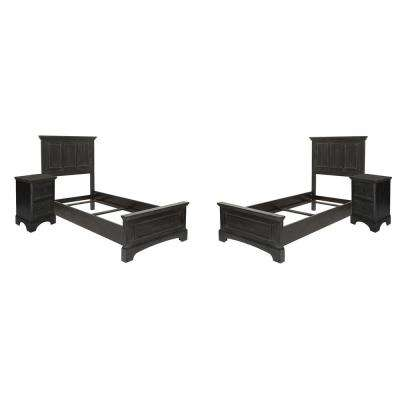 Farmhouse Basics Rustic Black Double Twin Bedroom Set with 2-Twin Beds and 2-Nightstands