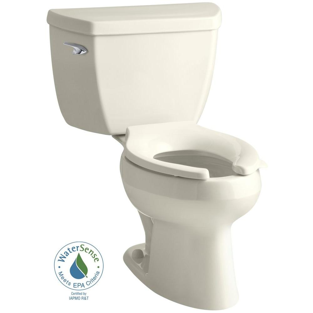 KOHLER Wellworth Classic 2-piece 1.0 GPF Single Flush Elongated Toilet in Biscuit