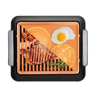 234 sq. in. Black Copper Non-Stick Ti-Ceramic Smoke-less Electric Indoor Grill & Griddle