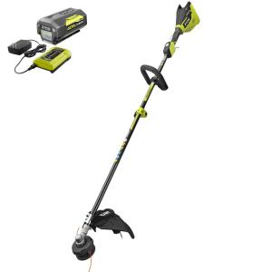 RYOBI 40-Volt Lithium-Ion Brushless Electric Cordless Attachment Capable String Trimmer 4.0 Ah Battery and Charger Included