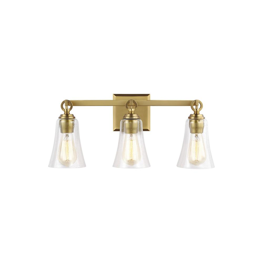 Monterro 21.75 in. W. 3-Light Burnished Brass Vanity Light with Clear Seeded Glass Shades