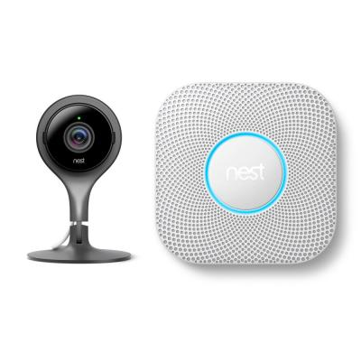 Nest Cam Indoor Security Camera and Google Nest Protect Battery Smoke and Carbon Monoxide Detector