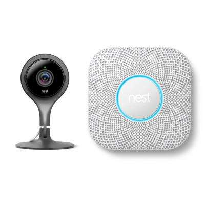 Cam Indoor 1080p Security Camera with Protect Battery Smoke and Carbon Monoxide Detector
