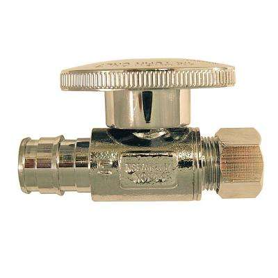 1/2 in. Chrome-Plated Brass PEX-A Expansion Barb x 3/8 in. Compression Quarter-Turn Straight Stop Valve