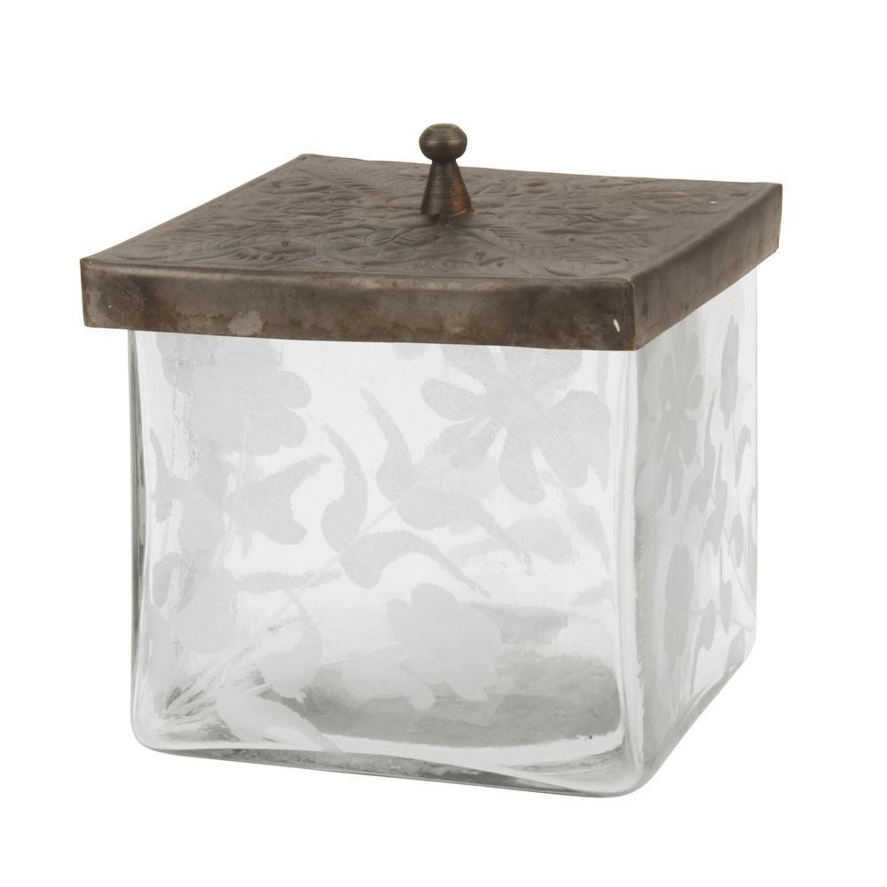 Stonebriar Collection Clear Square Etched Glass Container with