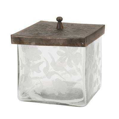 Clear Square Etched Glass Container with Pewter Lid