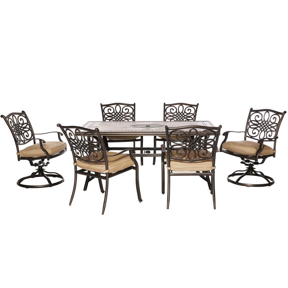 Cambridge Heritage 7-Piece Aluminum Outdoor Dining Set with Tan Cushions