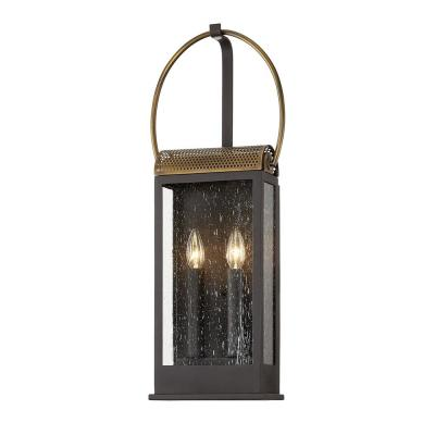 Holmes Bronze and Brass 2-Light Wall Sconce with Clear Seeded Glass Shade