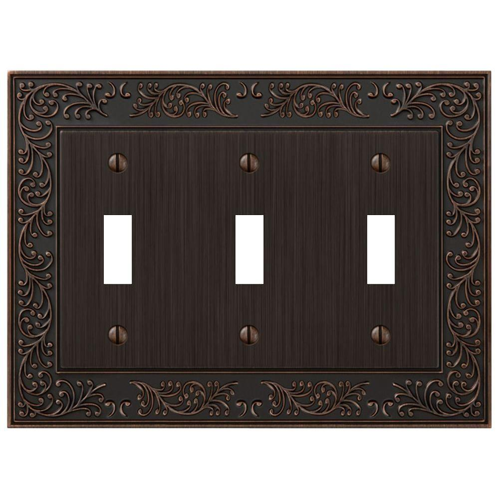 English Garden 3 Toggle Wall Plate - Aged Bronze