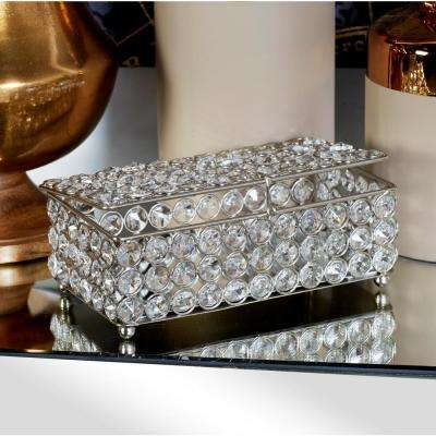 Metallic Silver Jewelry Box with Crystal Accents