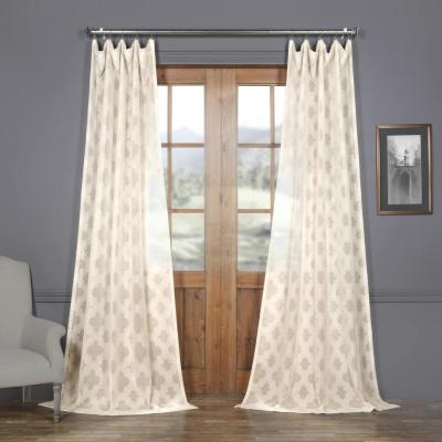 Calais Tile OffWhite Patterned Linen Sheer Curtain - 50 in. W x 108 in. L