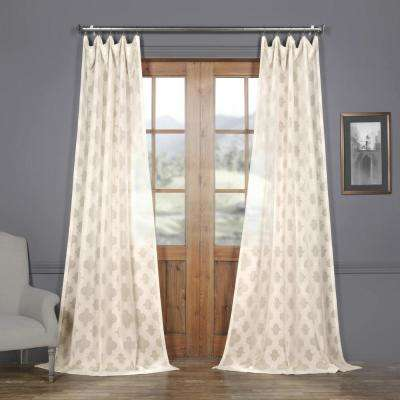 Calais Tile OffWhite Patterned Linen Sheer Curtain - 50 in. W x 84 in. L
