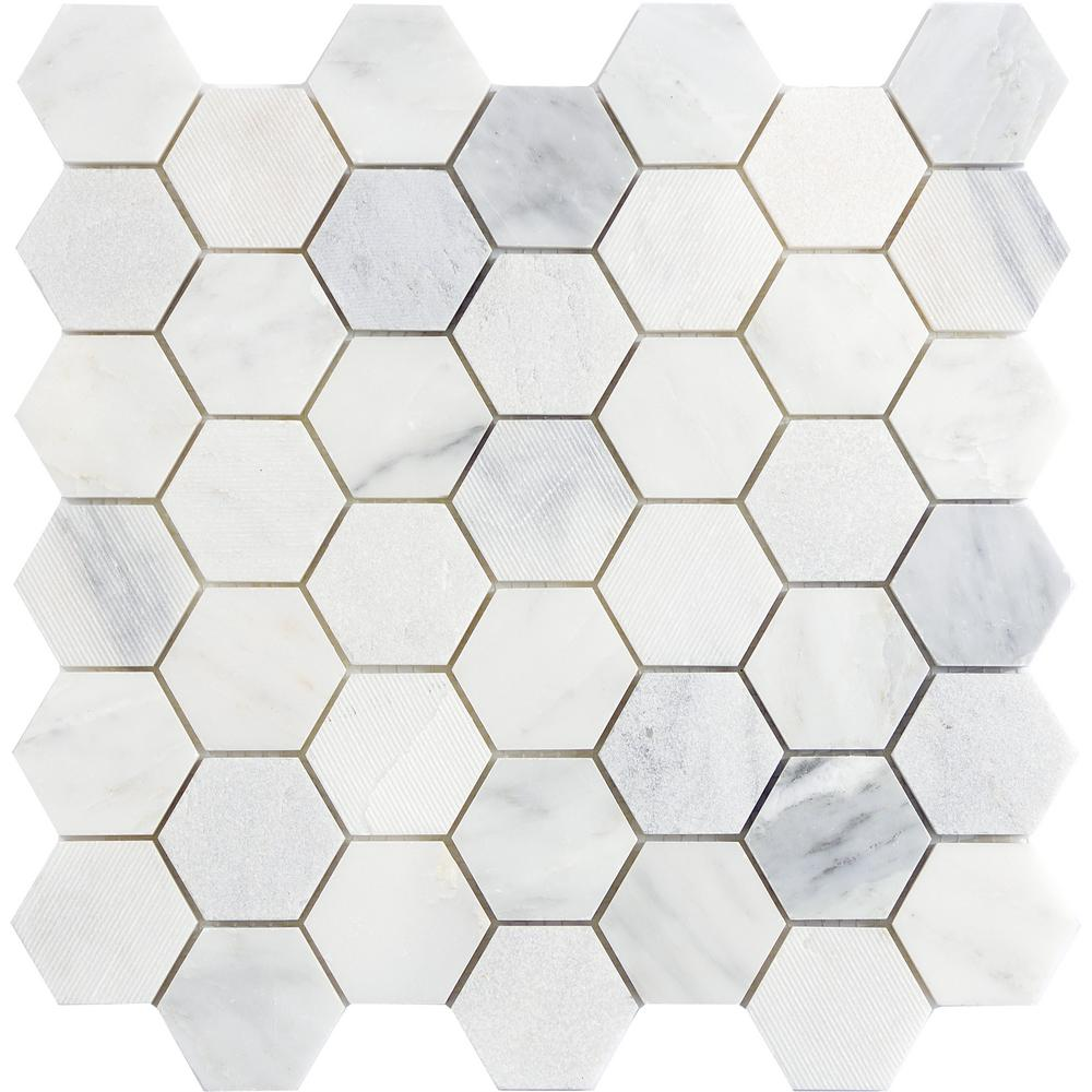Emser Winter Frost Hexagon Mix 12 In X 10 Mm Marble