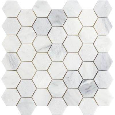 Winter Frost Hexagon Mix 12 in. x 12 in. x 10 mm Marble Mosaic Tile