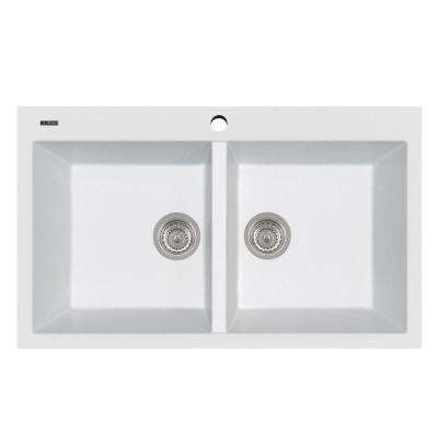 Elegance Series 33 in. Drop-In Version Granite 1-Hole Double Bowl Kitchen Sink in Milk White