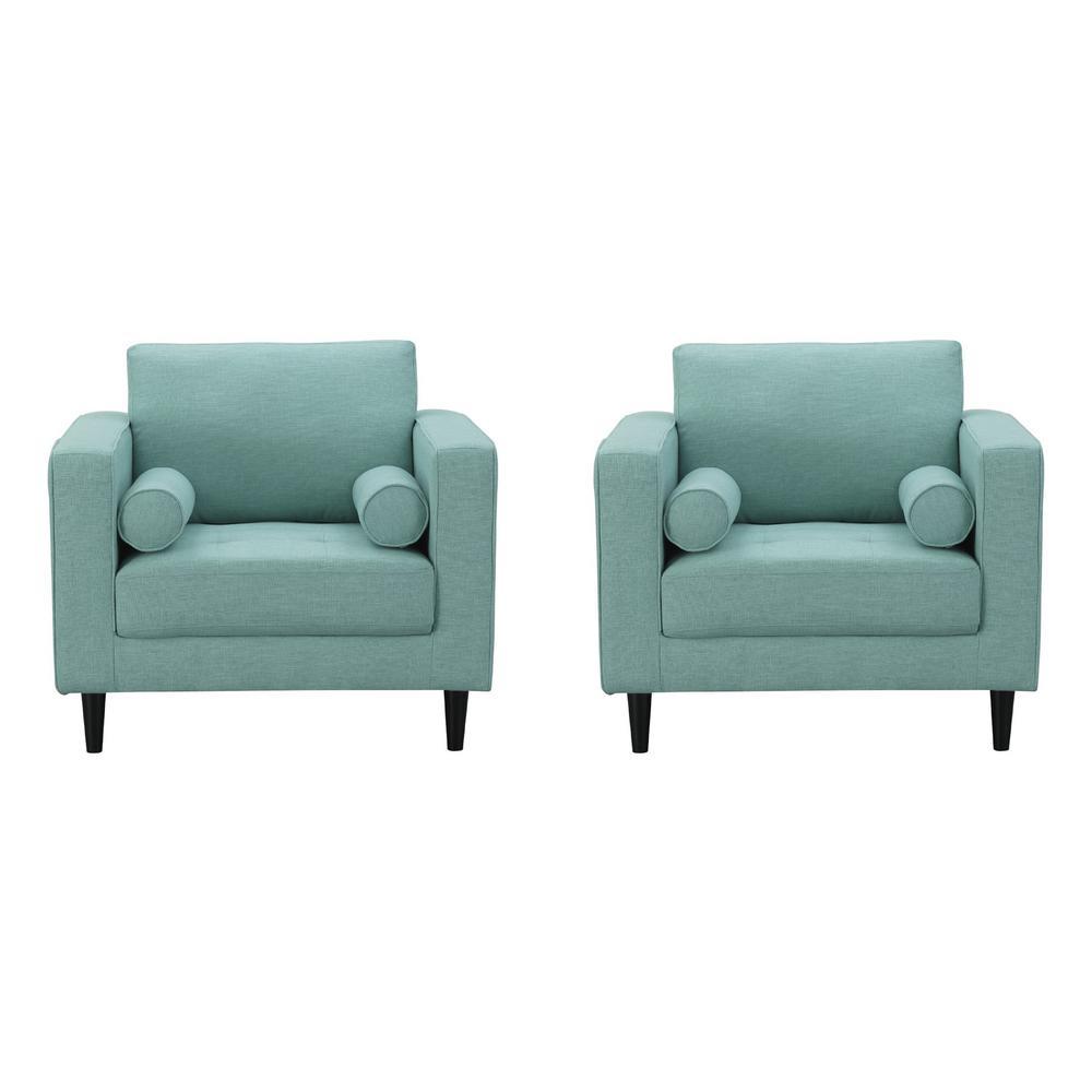 Arthur Mint Green-Blue Tweed Armchairs (Set of 2)