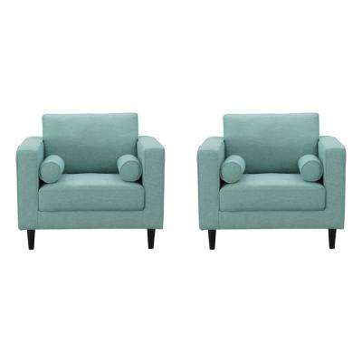 Arthur Mint Green-Blue Tweed Armchairs (Set of 2)