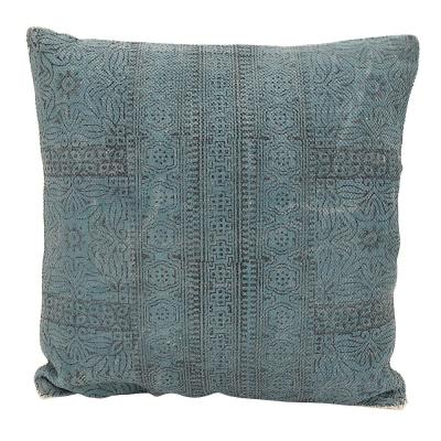 Three Hands Blue Solid Polyester 20 in. x 20 in. Throw Pillow