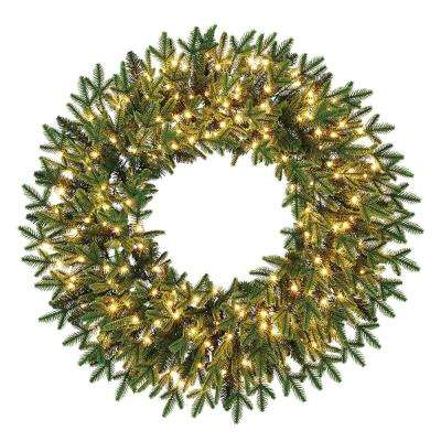 32 in. Pre-Lit LED Artificial Majestic Brilliance Fir Christmas Wreath with 782 Tips and 200 Warm White Fairy Lights