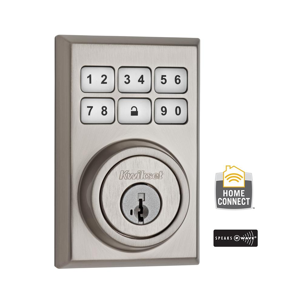 Kwikset Z-Wave SmartCode 910 Contemporary Satin Nickel Single Cylinder Electronic Deadbolt Featuring SmartKey Security