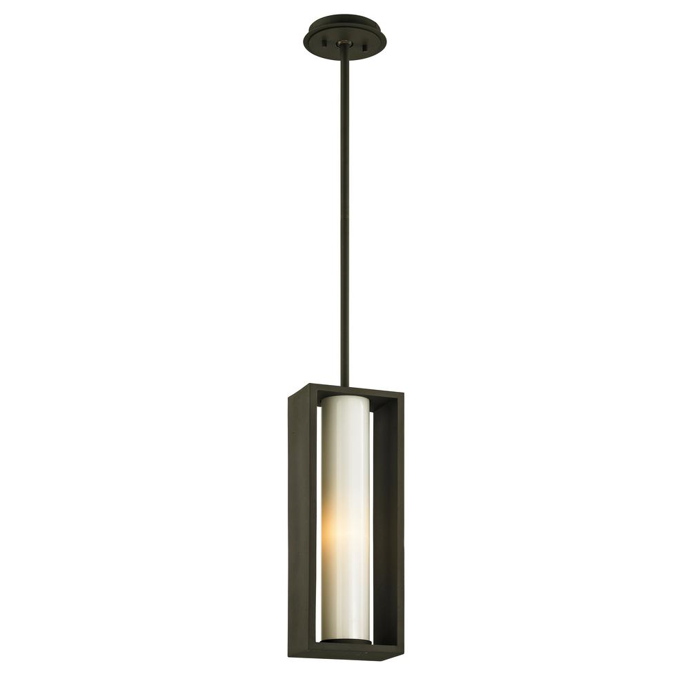 Troy Lighting Mondrian Textured Bronze 1-Light 4 in. W Outdoor Hanging Light with Opal White Glass
