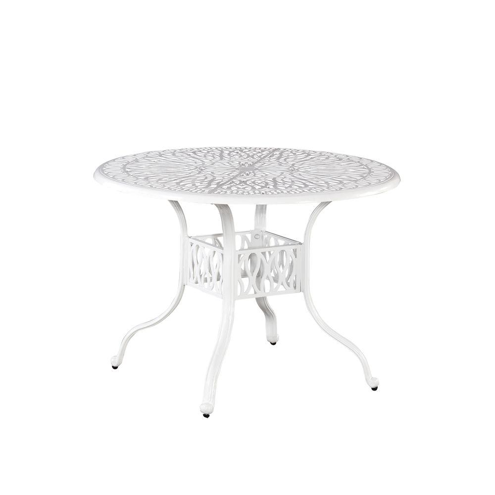 Floral Blossom 42 in. White All-Weather Patio Dining Table