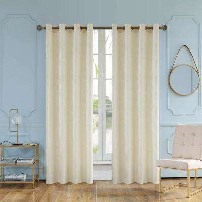 Skye 95 in. L x 54 in. W Semi-Opaque Room Darkening Polyester Curtain in Cream