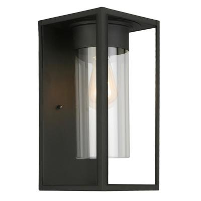 Walker Hill 7.24 in. W x 15 in. H 1-Light Matte Black Outdoor Wall Lantern Sconce with Clear Glass