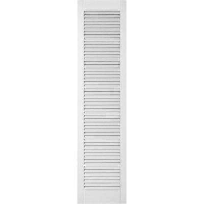 18 in. x 55 in. Lifetime Vinyl Custom Straight Top All Open Louvered Shutters Pair Paintable