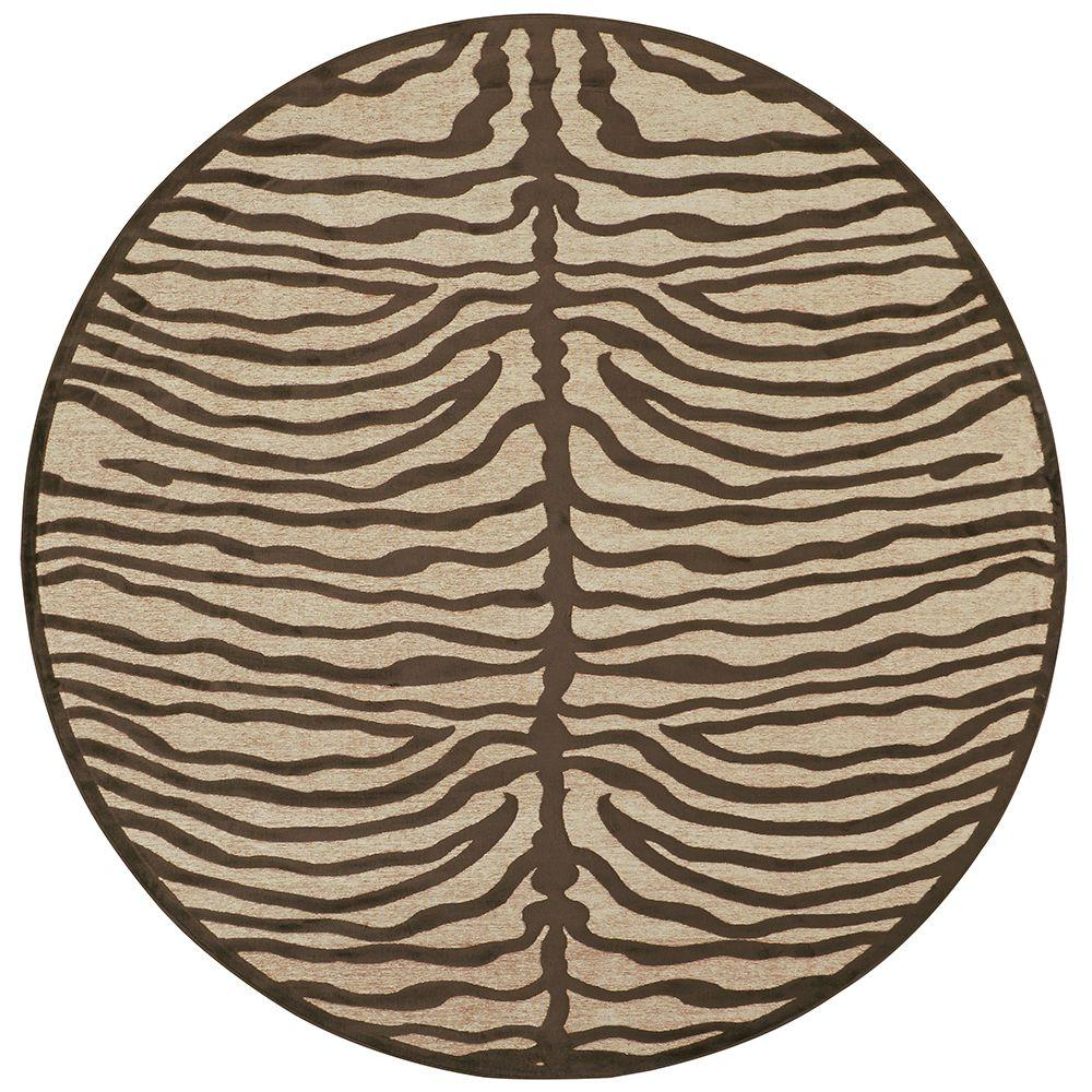 Feizy Saphir Ivory/Chocolate 7 ft. 6 in. x 7 ft. 6 in. Indoor Round Area Rug