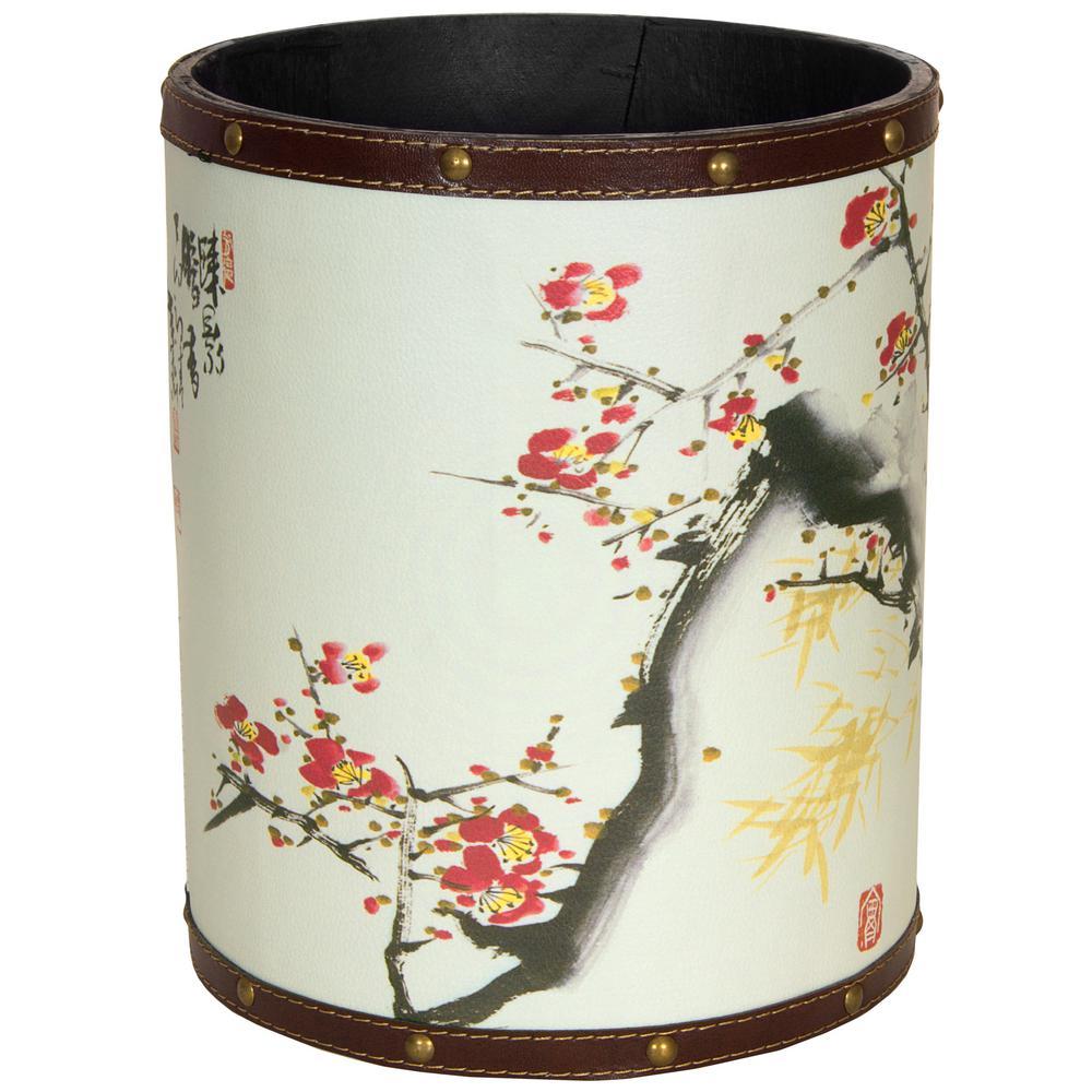 Oriental Furniture 8.25 in. x 10 in. Cherry Blossom Waste Basket