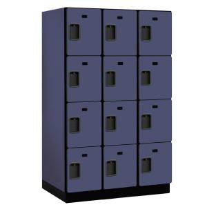 24000 Series 4-Tier 24 in. D 12-Compartments Extra Wide Designer Particle Board Locker in Blue