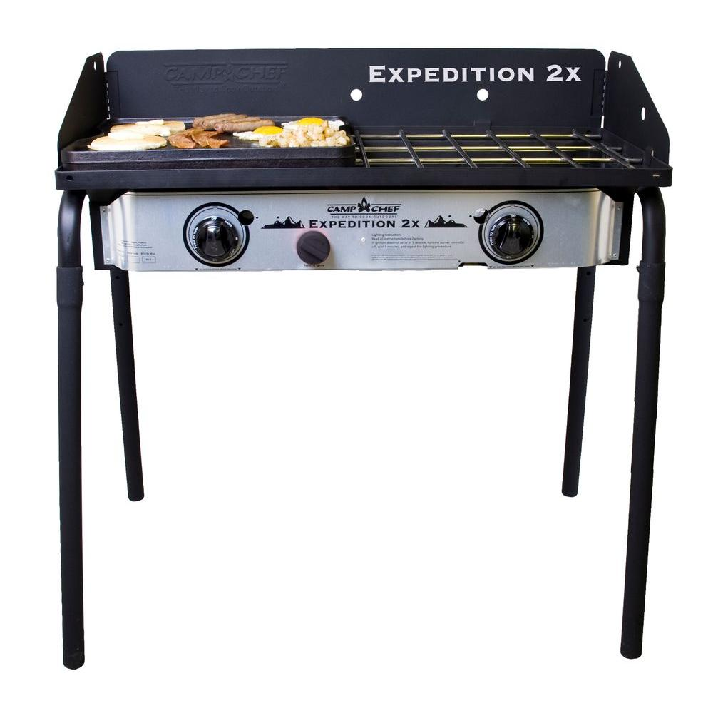 camp chef expedition 2x 2 burner propane gas grill in silver yk60lwc12 the home depot. Black Bedroom Furniture Sets. Home Design Ideas