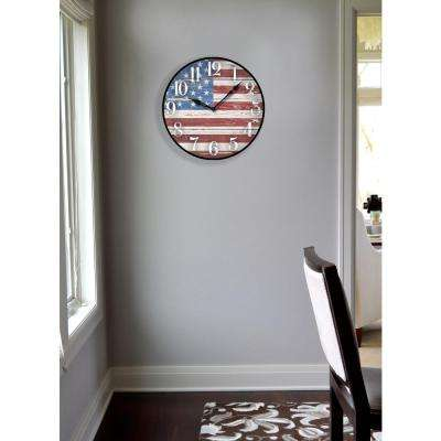 12 in. Vintage American Flag Dial Wall Clock