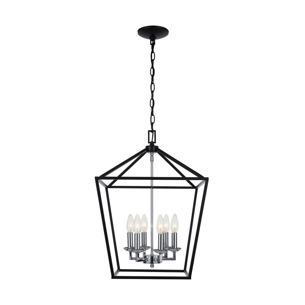Home Decorators Collection Weyburn 6-Light Black and Polished Chrome Caged Chandelier