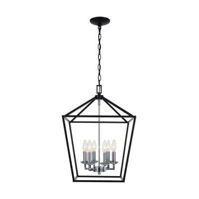 Weyburn 6-Light Black and Polished Chrome Caged Chandelier