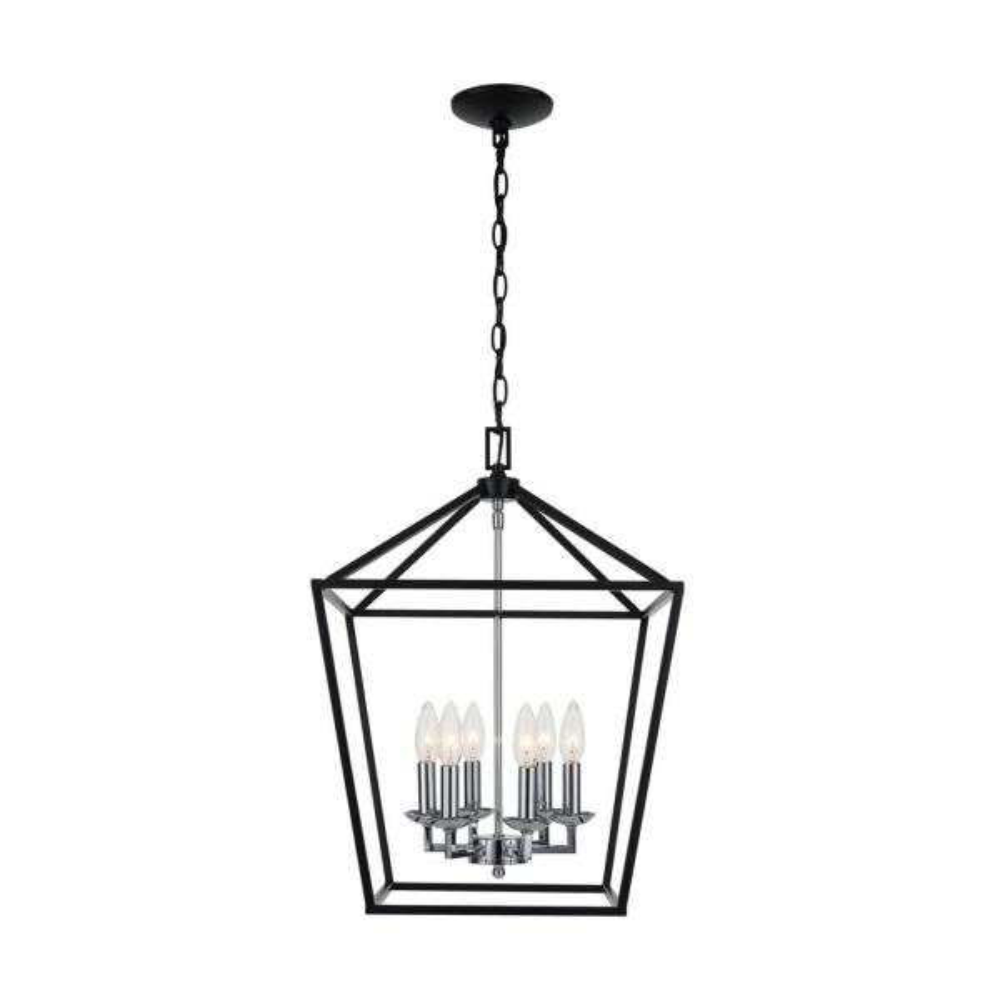 Weyburn 6-Light Black and Polished Chrome Caged Chandelier