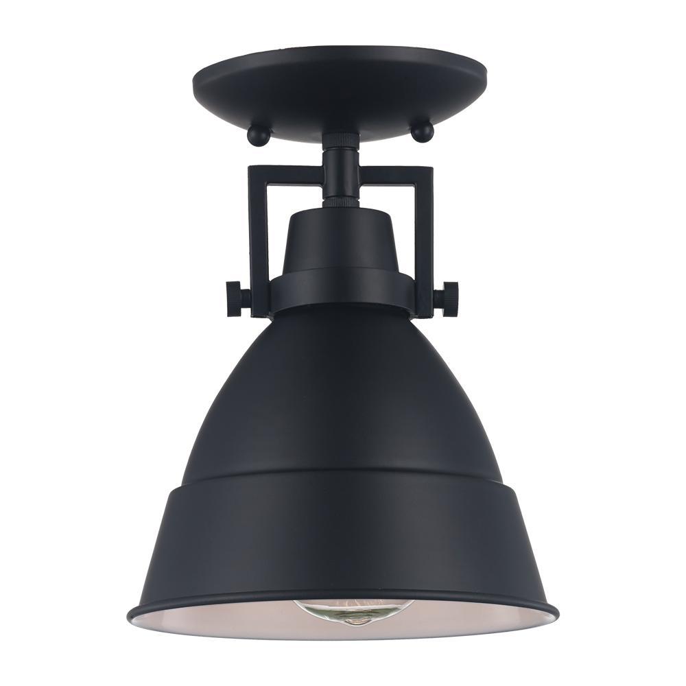 7 in. Monteaux 1-Light Black Semi-Flush Mount