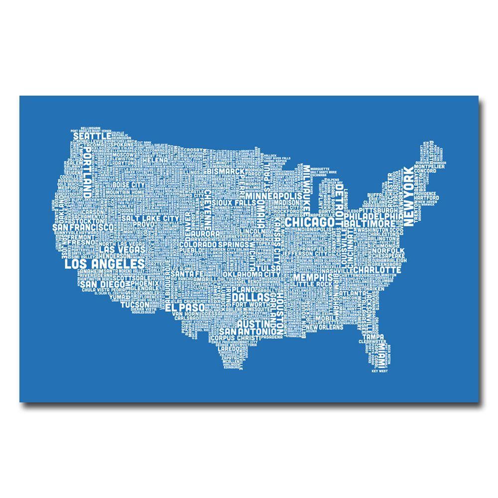 Trademark Fine Art 30 in. x 47 in. US City Map XIII Canvas Art