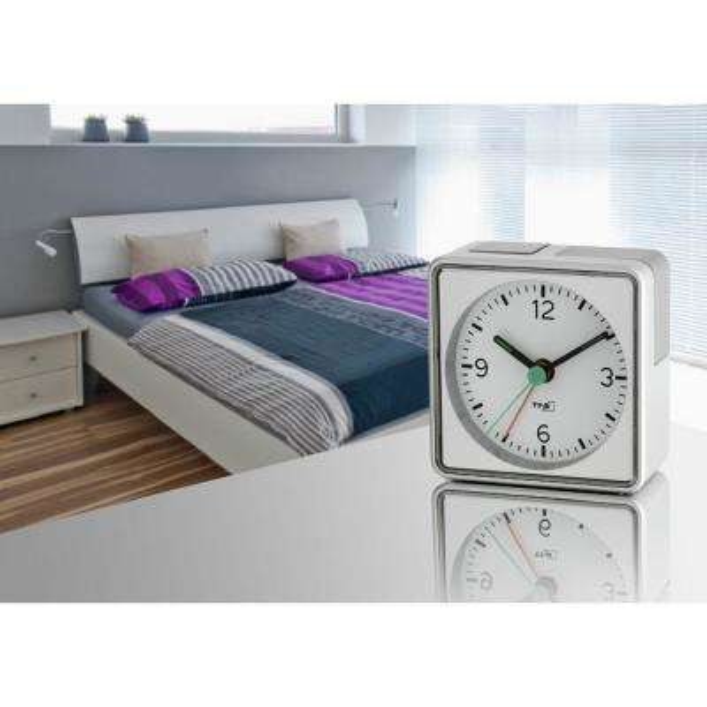 2.75 in. Square Push-Button Electronic Silver Alarm Clock
