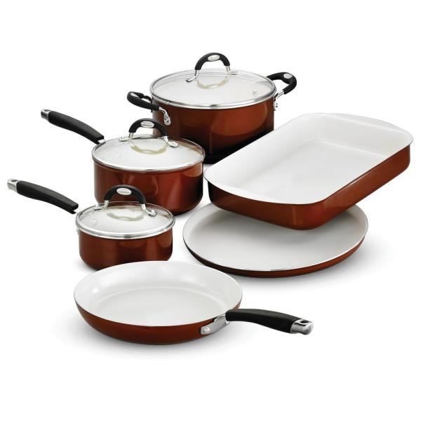 Style Ceramica 9-Piece Aluminum Ceramic Nonstick Cookware Set in Metallic Copper