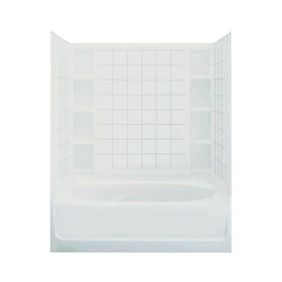 Ensemble 42 in. x 60 in. x 72 in. Standard Fit Bath and Shower Kit with Left-Hand Drain in White