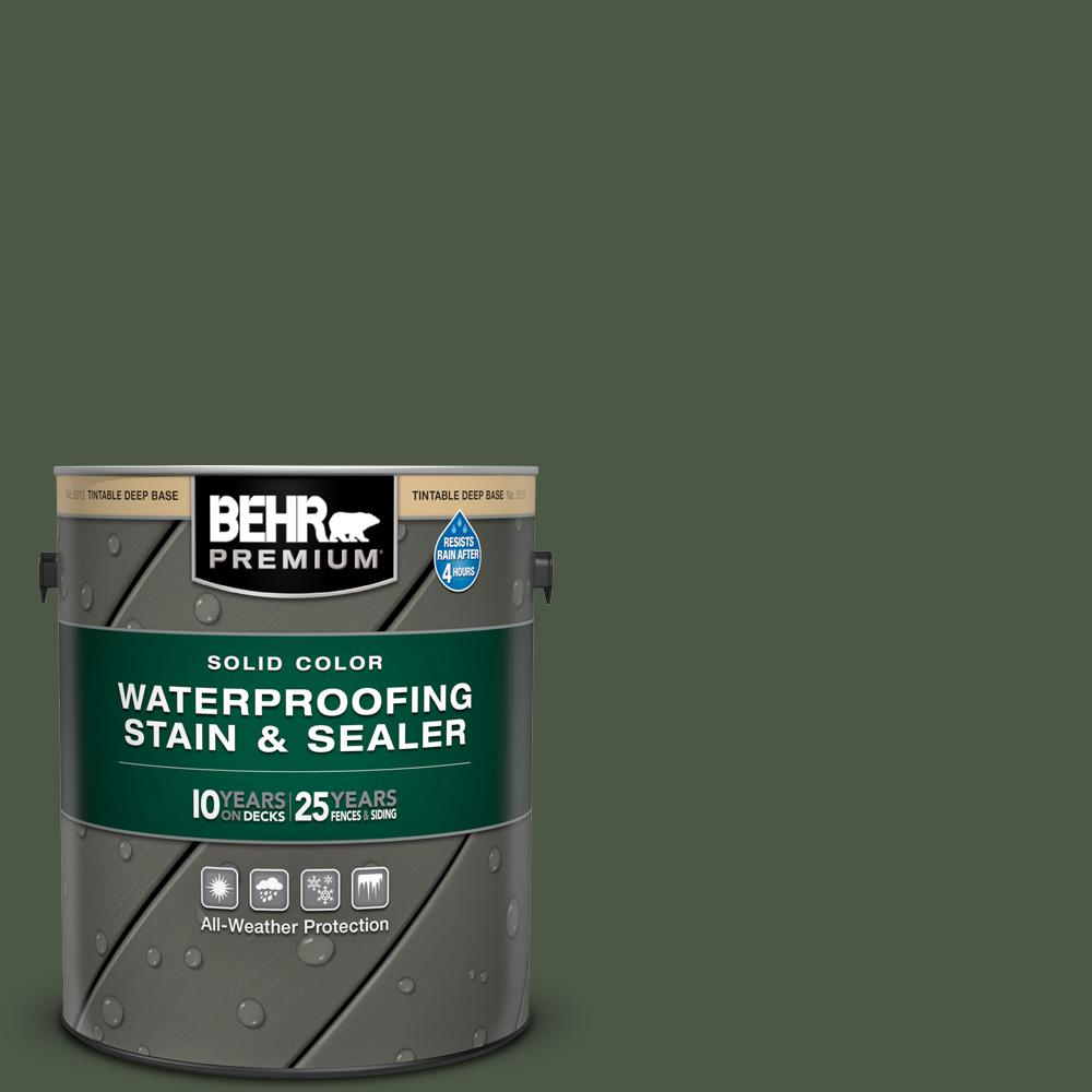 BEHR PREMIUM 1 gal. #SC-120 Ponderosa Green Solid Color Waterproofing Exterior Wood Stain and Sealer