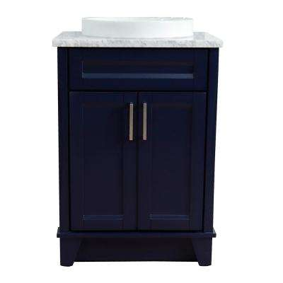 25 in. W x 22 in. D Single Bath Vanity in Blue with Marble Vanity Top in White Carrara with White Round Basin