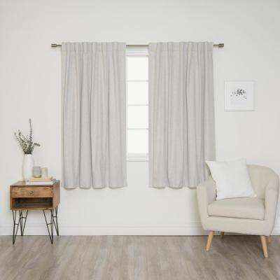 Linen Look 52 in. W x 63 in. L Back Tab Curtains in Linen (2-Pack)