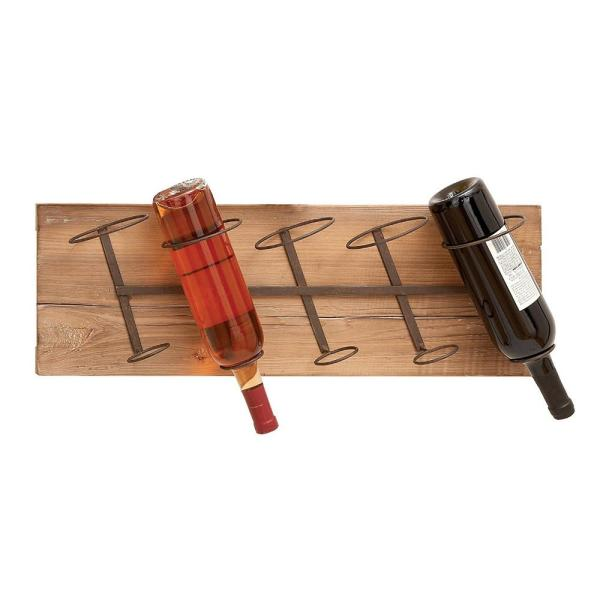 Benzara Wood and Iron Multi Color Alloy Wall Wine Rack BM04641